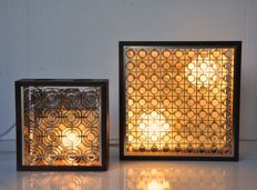 Designer and manufacturer unknown - Two Danish square wooden ceiling lights with gold-coloured plastic raster