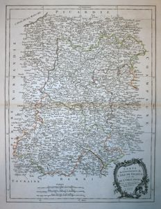France, Ile de France, Paris; Santini - Carte du Gouvernement de l'Isle de France - 1784