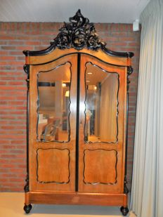 Mahogany cabinet, late 19th century, with openwork carved crest
