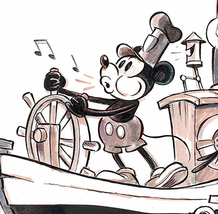 Fernandez Tony Original Drawing Mickey Mouse Steamboat Willie