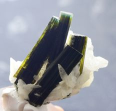 Terminated Undamaged Twin Bi - Color Tourmaline crystals with Clavelendite - 49*47 *45 mm - 38.33gr