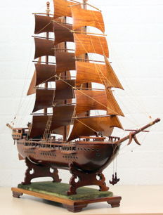Hand made wooden model three-master sailing ship 120 x 98 cm.