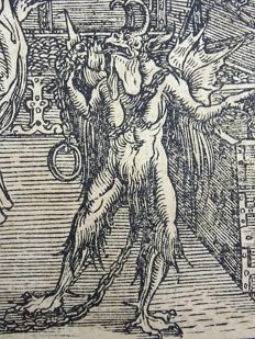 Master of Petrach [Hans Weiditz 1495-1537] - Illustrated post-incunabula leaf with fine woodcut - To be Chained to Wealth; Evils of Money; Monster - 1532