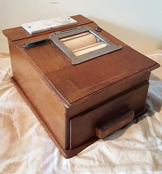 Beautiful wooden cash register, ca. 1940, from the Netherlands