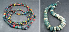 A string of ancient Roman glass beads circa 300 A.D. together with a lot of 37 Nila blue glass beads circa 1000 A.D.