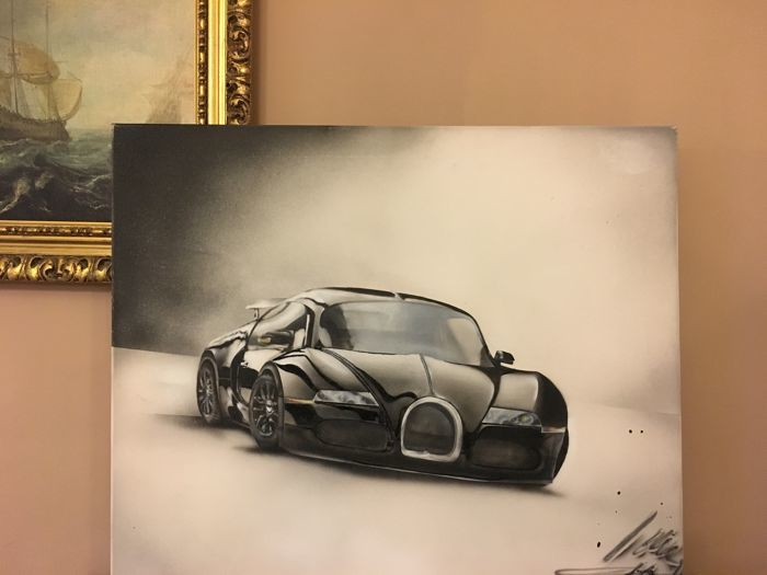Hand painted picture of BUGATTI Veyron.