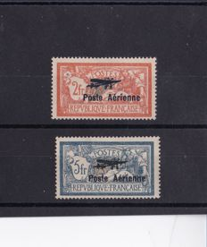 France - Air Mail series signed Calves - Yvert AM #1 and 2