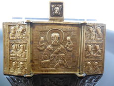 Antique Bronze Russian Triptych Small Folding Travel St Nicholas Of Myra