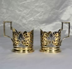 Two sterling silver Russian niello glass-holders, silver gilt, period: 1950-1960