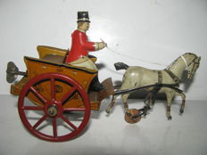 Greppert & Kelch (G&K), Germany - Length 18 cm - Tin wind-up Antique Horse and Cart, 1920s