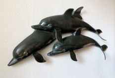 Three dolphins - Bronze alloy - wall decoration