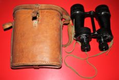 Binoculars, original WWII, Ross of London, 1941 in leather case, with stamps, broad arrow in good condition