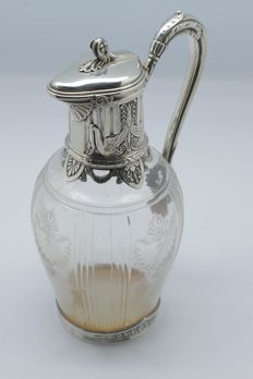 Exceptional sterling silver and crystal ewer decorated with swans, silversmiths Risler & Carré, Paris - France 19th century