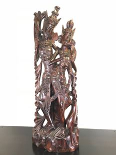Large and heavy wooden statue of Rama and Sita - Bali, Indonesia - 2nd half 20th century