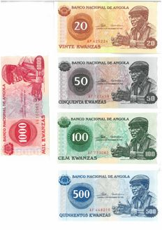 Angola - 20, 50, 100, 500 and 1000 Kwanzas 1976 - Pick 109a, 110a, 111a, 112a and 113a