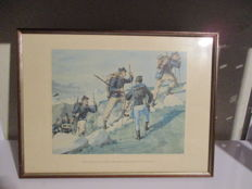 Lot of 6 prints by the illustrator Quinto Cenni depicting several corps of the Italian Army of the late 1800s - Italy + 1 print of the Cisalpine Militia