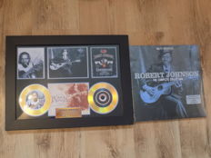 "Robert Johnson framed CD display and "" The Complete Collection "" Double LP."