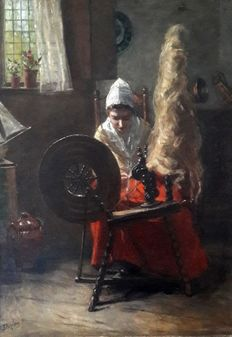 Betsy Repelius (1848-1921)  - Spinster met spinnewiel in Larens interieur