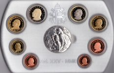 Vatican - 2003 - Set of 8 coins from 1 cent to €2 + silver coin of 45 g. Mintage: 13,000