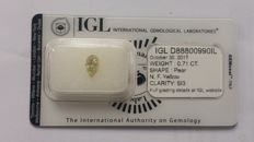 0.71ct   Pear cut diamond Fancy Yellow si3  Lab report -NO RESERVE