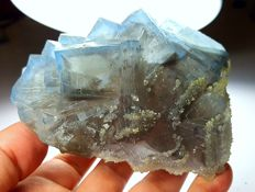 Large Blue Grey Phantoms Fluorite With Sugary Calcite - 106 x 70 x 56 mm - 747 gm