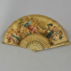 Hand Painted and engraving on paper and bone French Fan, 19th Century