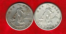 Philippines - 1 peso 1907 and 1908 (San Francisco) 'North American Administration' - Silver