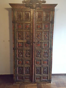 A walnut painted panels cabinet, Spain, early 18th century