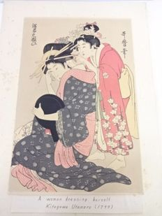 "Woodblock print by Kitagawa Utamaro (ca. 1753- 1806) (reprint) - ""A Top Courtesan Applying Makeup in Her Boudoir"" - Japan - 1921"