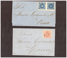 Peru 1850 - Scott #9 (pair) and 10, on letter