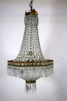 Crystal nymph chandelier - Italy - early 20th century