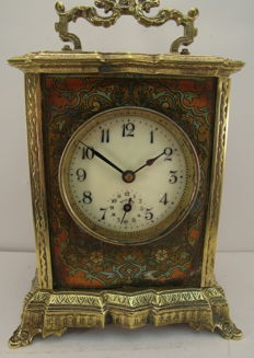 Particular alarm clock by Japy, from France, around 1900, with paintings and lots of brass