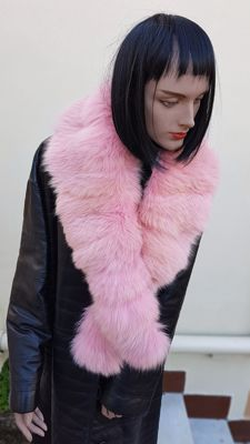 Wrap/Scarf - Pink Fox Fur - MADE IN ITALY