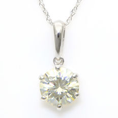 14K Gold Pendant set with 6.7 mm Created Moissanite- Size: 15.2 x 6.9 mm