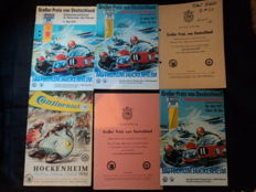 6 Hockenheim race programs from 1958, 1971, 1973 and 1975