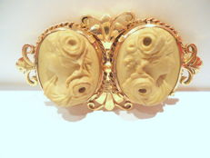 2 cameo old brooch in 18 kt gold, Lava Stones.