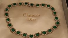 Christian Dior vintage  crystals emerald necklace with original box Germany 1960-1965