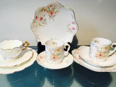 "3 antique hand-painted breakfast / tea sets ""Trios"""