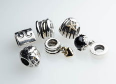 6 pandora charms - silver and gold with zirconia and onyx