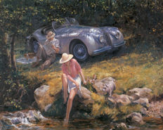 Art print -Jaguar XK 120 oil painting reprint on canvas