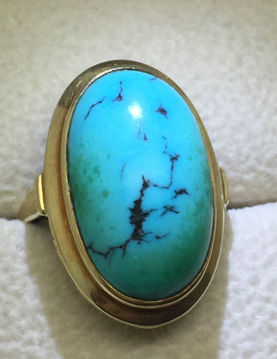 Vintage turquoise ladies' ring 585 yellow gold 14 karat with a big turquoise 21 x 12.5 mm size 50