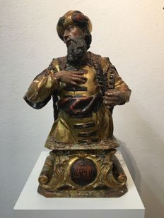 Saint Joachim - carved wooden, polychrome painted and gold plated - likely Austrian - ca. 1730