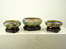 Three cloisonné and champlevé brushwashers - China - second half of the 20th century