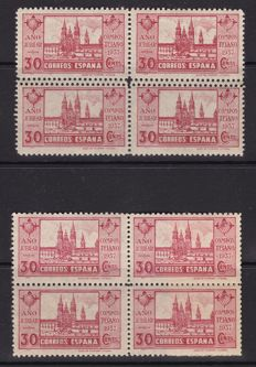 Spain 1937 - The Compostelan Holy Year Variety double dentate horizontal and dots on the year - Edifil 834, 834dd, 834t.