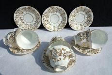 Old Paris, lot of 6 cups and saucers in porcelain decorated by hand
