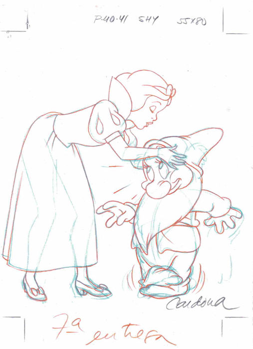 Cardona, Josep Maria - Original production drawing - Snow White and Bashful - Disney Classics