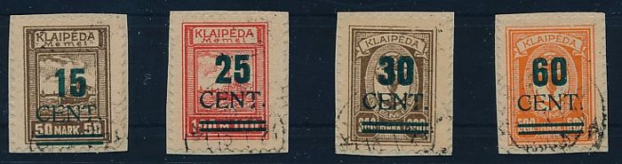 "Memel region – 1923 – ""incorporation of Memel to Lithuania, the so called green overprint"", Michel 234I – 237I"