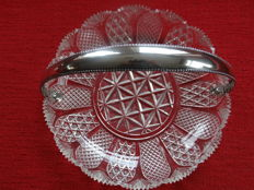 Antique crystal profiteroles or cake dish with a silver handle