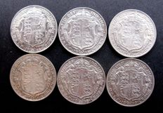 United Kingdom - ½ Crowns 1914, 1915, 1916, 1917, 1918 and 1919 George V (6 coins) - silver