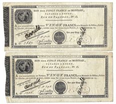 France - Rouen - 2 x 20 Francs (Serie A and Serie B) 1803 Year 12 of the Revolution - Pick S 245b.